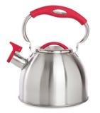 Чайник Stovetop свистя изолированный на белой предпосылке Стоковая Фотография