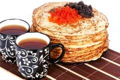 чай блинчиков икры стоковое изображение