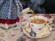 Чай быть политой формой винтажная чашка бака, уютных и чая чая Стоковое фото RF