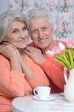 Чай возмужалых пар выпивая Стоковая Фотография RF