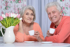 Чай возмужалых пар выпивая Стоковое фото RF