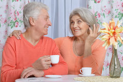 Чай возмужалых пар выпивая Стоковое Фото