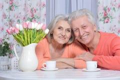 Чай возмужалых пар выпивая Стоковое Изображение RF