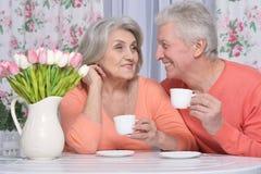 Чай возмужалых пар выпивая Стоковая Фотография