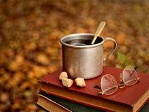 Чай в кружке металла, сахар, стекла на книгах на фоне листьев осени Стоковые Изображения