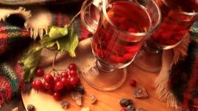 Чай в прозрачной стеклянной кружке, ягоды калины зимы осени a Guelder-Розы видеоматериал