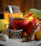 Чай в стекле с анисовкой ложки, сахара, циннамона, яблок, меда и звезды на темной предпосылке Стоковая Фотография RF
