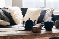Чай зимы в теплом доме стоковое фото rf
