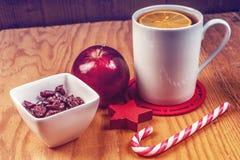 Чай зимы на деревянной предпосылке Стоковое Изображение