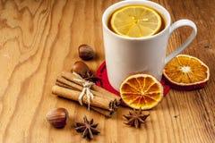 Чай зимы с специями на деревянной предпосылке Стоковые Фотографии RF