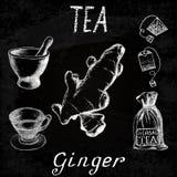 Чай имбиря травяной Комплект доски мела элементов Стоковое фото RF