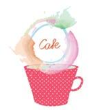 Чай или кофейная чашка и рамка для меню конструируют иллюстрация штока