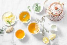 Чай кашля Зеленый чай с лимоном, имбирем, шалфеем на светлой предпосылке, взгляд сверху Здоровое питье вытрезвителя Стоковые Фотографии RF