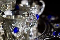 чай конца III установленный серебряный вверх Стоковое Изображение