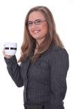 чай костюма кофе коммерсантки выпивая Стоковые Фото