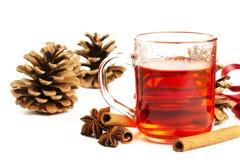 чай красного цвета conifer конуса циннамона анисовки стоковая фотография rf