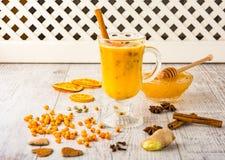 Чай крушины моря с медом стоковая фотография