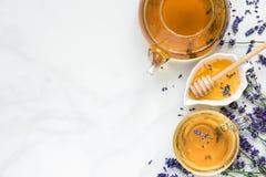 Чай лаванды в чашке и чайнике с медом и свежими цветками над белой мраморной таблицей Травяное питье Взгляд сверху стоковые изображения