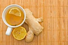 чай лимона имбиря зеленый Стоковое фото RF