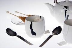 чай меда установленный Стоковая Фотография RF