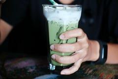 Чай молока льда зеленый свежий зеленый чай Стоковое Изображение RF