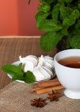 Чай мяты травяной с печеньями Стоковая Фотография RF