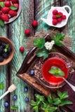 Чай от клубники, голубики, поленики, ежевики и мяты Стоковые Фото