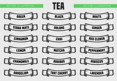 Чай печатает значки Стоковые Изображения