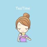Чай питья девушки шаржа Стоковые Изображения