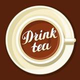 чай питья Иллюстрация при написанные чашка чаю и рука помечающ буквами текст Стоковое фото RF