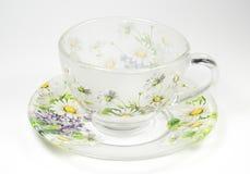 чай поддонника орнамента чашки прозрачный Стоковая Фотография