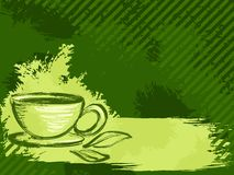 чай предпосылки зеленый grungy горизонтальный Стоковые Фотографии RF