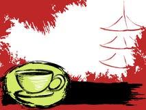 чай предпосылки grungy японский Стоковое Изображение