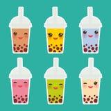 Чай пузыря Kawaii с различными плодоовощами и ягодами Коктеили молока в пластичной чашке, tubule Различные виды чая Cocktai пузыр бесплатная иллюстрация