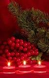 чай рождества свечек ягод Стоковая Фотография RF