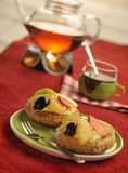 чай свежих фруктов торта вкусный Стоковое Изображение RF