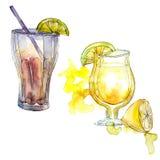Чай со льдом и свежая от питья коктеиля партии бара ананаса Изолированный ночным клубом чертеж эскиза значка Стоковая Фотография