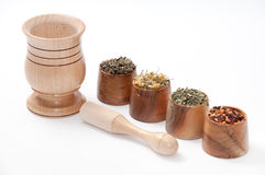 Чай стоцвета, зеленый чай, плоды шиповника и крапива Стоковые Изображения RF