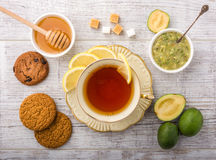 чай с взгляд сверху лимона стоковые изображения