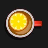 Чай с иллюстрацией вектора взгляда лимона сверху Стоковые Изображения