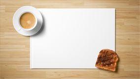 Чай с тостом на белой бумаге на деревянной предпосылке стоковая фотография rf