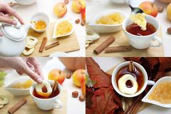 Чай с яблоками и циннамоном стоковое изображение rf