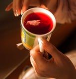 Чай утра завтрака Чай питья девушки Стоковое Изображение