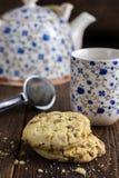 Чай утра с печеньями Стоковая Фотография