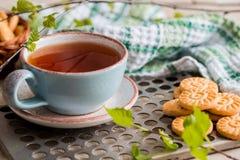 чай чашки зеленый Чашка чаю с круглым печеньем на зеленой linen checkered салфетке и винтажным железным подносом, листьями зелено Стоковая Фотография RF