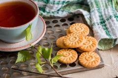 чай чашки зеленый Чашка чаю с круглым печеньем на зеленой linen checkered салфетке и винтажным железным подносом, листьями зелено Стоковые Фотографии RF