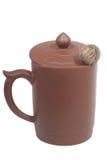 чай чашки комковой глины зеленый Стоковые Фото