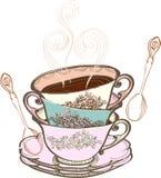 чай чашки предпосылки Стоковые Фотографии RF