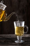 Чай чая евкалипта на текстуре металла Стоковая Фотография