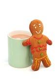 чай человека gingerbread чашки Стоковые Изображения
